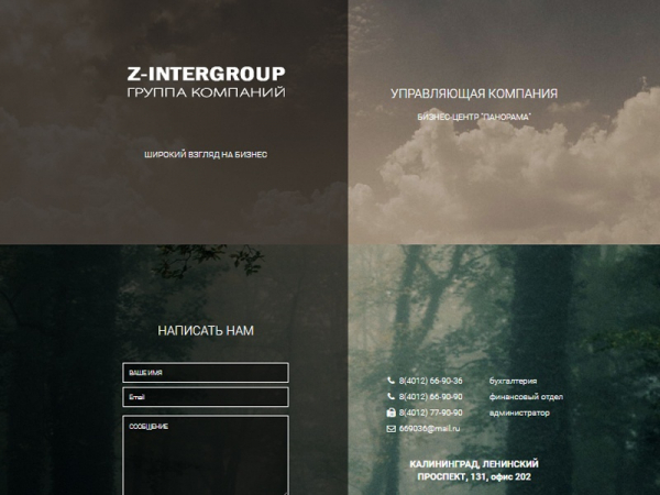 """Лендинг компании """"Z-intergeroup"""""""